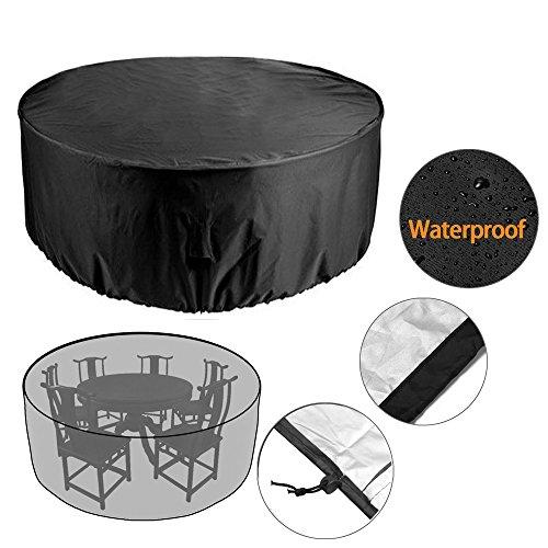 vinteky 4-Sitzer-Tisch, rund, groß, rund, wasserdicht, atmungsaktiv Oxford Stoff Garten Patio-Möbel, 185cm * 110cm Cube Tisch Und Stuhl Im Set