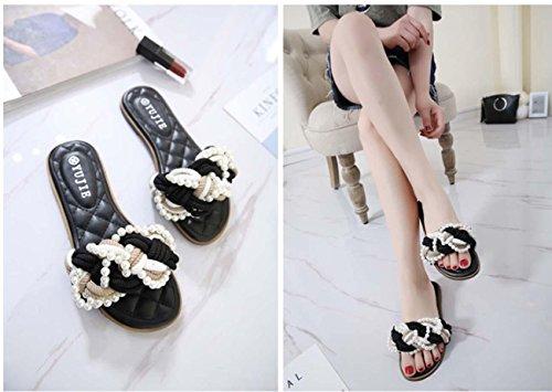 NobS Aux Femmes Perlé Corde de Chanvre Des Sandales Perle Appartement Chaussures Chaussons Black