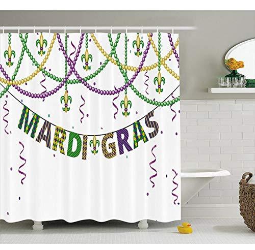Yiciyici Mardi Gras Shower Curtain-Festliche Dekorationen Mit Fleur De Lis Icons Hanging Von Den Bunten Perlen Purpurrotes Grünes Gelb-180(H) X200(W) (Perlen Schwarz Mardi Gras)