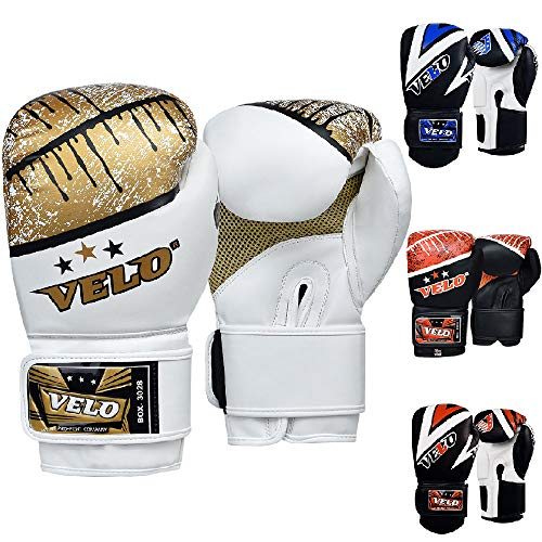 VELO - Guantoni da Boxe in Pelle Microfibra, per Muay Thai, Allenamento, Boxe, Kickboxing, Combattimento, White-Gold, 16 oz