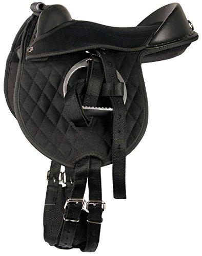 Harry's Horse Reitkissen Bambino schwarz Pony/Shetty Pad anpassbar Sattel für Kinder komplett mit Riemen, Steigbügel und Sattelgurt auch für Holzpferde geeignet 10