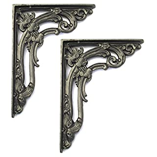 Pair of Cast Iron Victorian Scroll Leaf Shelf Brackets (15cm x 20cm)