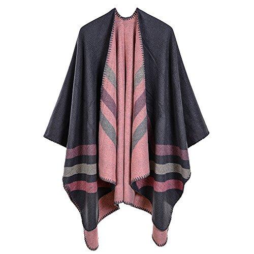 Trim Knit Cardigan (ZUZHEN Women es Shawl Golden Trim Knit Blanket Wrap Fringe Poncho Coat Cardigan,B)