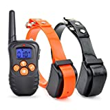 TPPY Wiederaufladbare Erziehungshalsband,330 Yards Remote Electric Ferntrainer Hunde Training mit Beep/Vibration/Schock,Orange