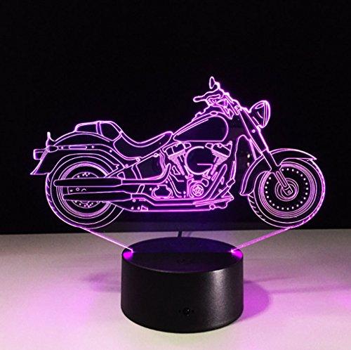 Xinguang 3D Night Light Illuminazione visiva 7 Colori Cambia USB Touch Keys e Smart Remote Desk Lamp Nice Gifts Home Decor (Moto)