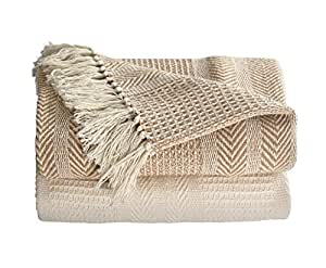 Ehc Premium Pack of 2 Cross-Stitch Throws for Sofa / Chair Blanket, 125 x 150cm - Beige / Ivory