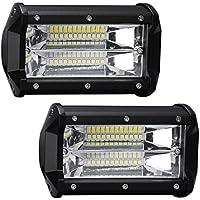 Favoto 36W*2 12 LED rangos luz ajustable de trabajo del automóvil foco Auxiliar de luz de carretera Impermeable para Coche Moto Atv/Boat/Suv/Truck/Car color negro