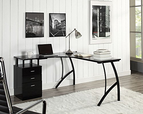 Cheapest Price for L-Shaped Corner Computer Desk Office Home PC Table in Black or White + 3 Drawers (Black)