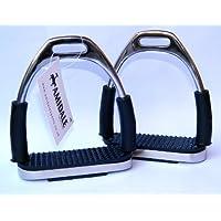Amidale Flexi Seguridad Estribos Caballo Equitación Flexible Planchas Inoxidable Acero Negro Dibujo - 13 cm