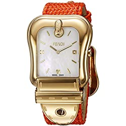 Fendi Women's Orange Leather Band Steel Case Swiss Quartz MOP Dial Analog Watch F382414591D1