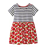 Trada Kleinkind Baby Kind Mädchen Blumenmuster Kleid Sommerkleid Outfit Kleidung Sommer Süße Erdbeeren Stickerei Muster Denim Kleid Prinzessin(2-7Jahre) (110, Rot)