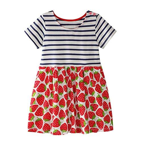 Kostüm Erdbeere Muster - Trada Kleinkind Baby Kind Mädchen Blumenmuster Kleid Sommerkleid Outfit Kleidung Sommer Süße Erdbeeren Stickerei Muster Denim Kleid Prinzessin(2-7Jahre) (110, Rot)