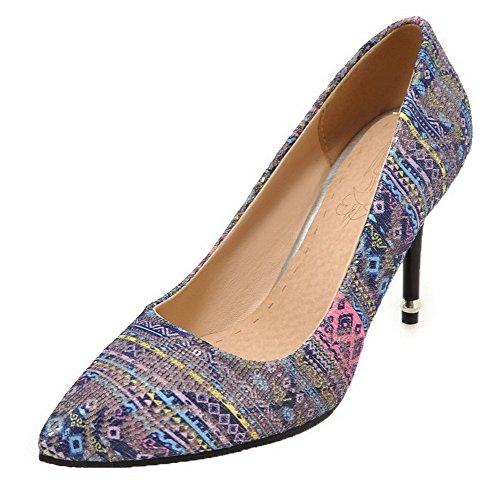 De Zapatos Tira Alto De Azul Material De Mujer Agoolar Tacón Luz Mezclado  De Color De ... b61b59ead67