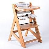Chaise Haute en bois Ajustable Chaise bébé Escalier chaise haute NATURE HC6551-D01creme