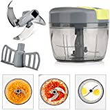 Magiclux Tech Mini 750ml Manual Food Chopper, Onion Vegetable Processor Handheld Speedy Chopper Fruits Shredders & Slicers, with Big Mixing Blade, 3 Sharp Stainless Steel Blade (750ml)