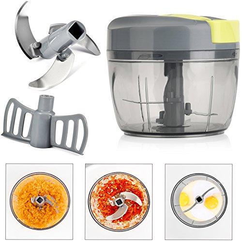 Magiclux Tech Mini Manuelle Lebensmittel Zerhacker, Zwiebel Gemüse Prozessor Handheld Schnelle Zerhacker Obst Zerhacker und Slicer, mit großen Mixing Blade, 3 Sharp Edelstahl Klinge (750ml)