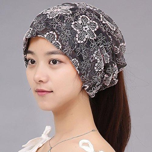 Chapeaux du chapeau de mar¨¦e f¨¦minin On s'entasse turban Cap cap Cap 3 cap cheveux fins,d'un capuchon,sont(56-58cm) Code 3,avec le noir et blanc Gray Powder