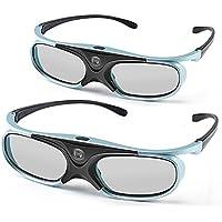 APEMAN Lunettes 3D Serie DLP Design Leger Rechargeable 3D Glasses VR Luminance et Contraste Violents Compatible avec tous les Videoprojecteurs DLP 3D(2 paires)