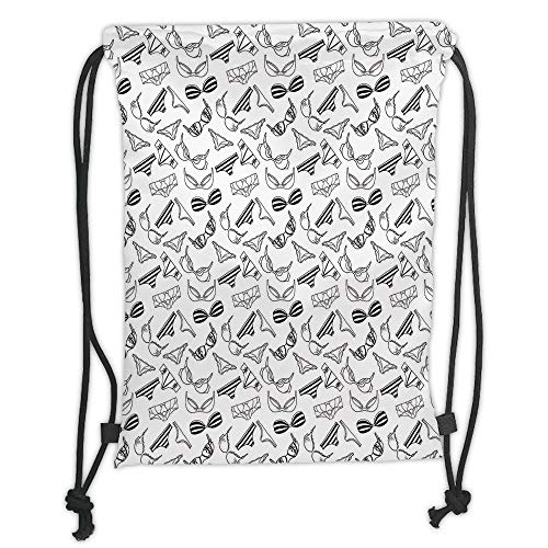 Juzijiang Drawstring Sack Backpacks Bags,Black and White,Lingerie Underwear Pattern Bras and Panties Doodle Feminine Fashion Theme,Black White Soft Satin Closur,5 Liter Capacity,Adjustable. -
