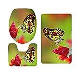 Baoblaze 3 stück Schmetterling Serie Badematte Rutschfester Badvorleger Badteppich aus Flanell - Schmetterling 11