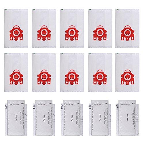 KEEPOW 10 Sacs + 5 filtres pour Miele FJM Aspirateur Sacs d'aspirateur Boîtes de Coupe Compact C1, C2, S290-s291, S300i-s399, S700-s758, S4000, S6000, Pièce de Rechange # 10123220
