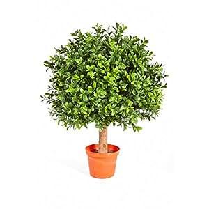 Boule de buis artificiel TOM sur tronc, 432 feuilles, 45 cm, Ø 30 cm – buis plastique / plante artificielle buis - artplants