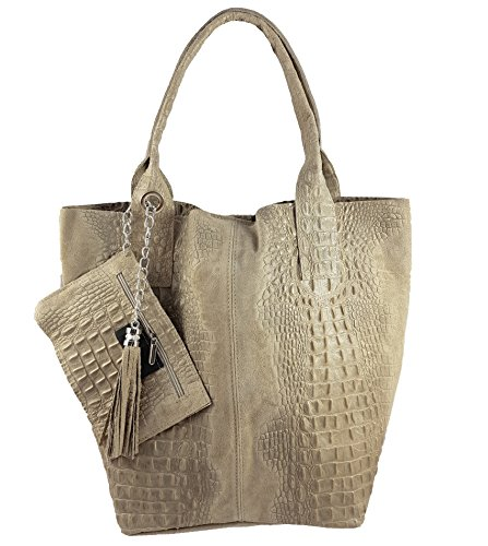 Freyday Damen Echtleder Shopper mit Schmucktasche in vielen Farben Schultertasche Henkeltasche Handtasche Metallic look (Beige Kroko)