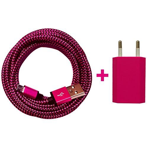 [Premitech®] USB Netzteil 5V/1A + 2m Premium Nylon Micro USB Ladekabel Datenkabel SET kompatibel mit [Universal, Handy, Tablet, Smartphone, Samsung Galaxy, HTC, Nokia, Sony, LG, Nexus, und viele mehr...] pink