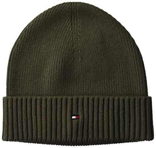 Tommy Hilfiger Herren PIMA Cotton Beanie Strickmütze, Grün (Green Lfh), One Size (Herstellergröße:OS)