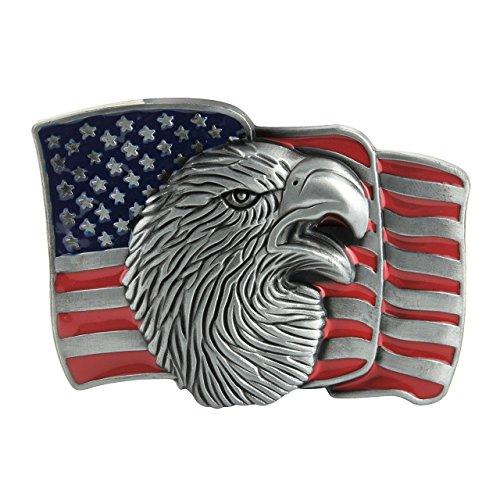 Faleto Amerikanische Flagge Adler Gürtelschnalle Stoffgürtel Schnalle Canvas Gürtel Belts Buckle für 3.8-4cm Riemen, für Herren und Damen -