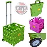 MP Essentials Robuster falt- und tragbarer Transportwagen fürs Shopping und Camping, 40 kg Maximalgewicht lindgrün