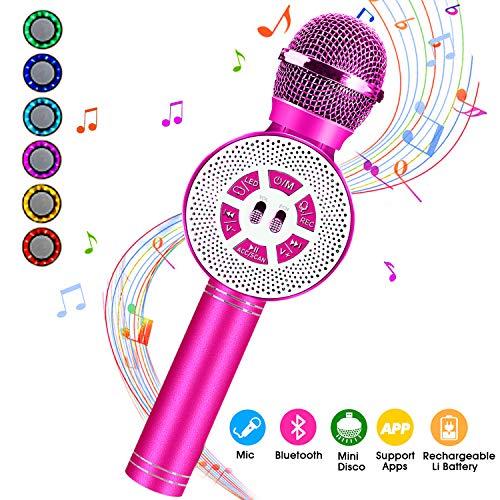 Karaoke mikrofon kinder, FishOaky Drahtlose Bluetooth Mikrofon mit Lautsprecher für Sprach- und Gesangsaufnahmen, kompatibel mit Android/IOS (Red)