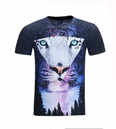 Men's 3D Fluffy Cuddly Terrified Cat Faces Printed Tee Shirts 1 7