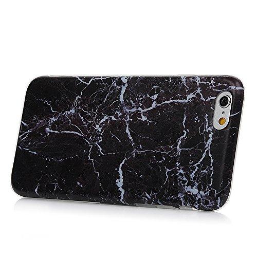 iPhone 6/6s Hülle Badalink Gefrorenes Marmor TPU Case Cover Ultraslim Handyhülle Schutzhülle Silikon Bumper Schutz Tasche Schale Antikratz Backcover, Schwarz+Blaun Schwarz