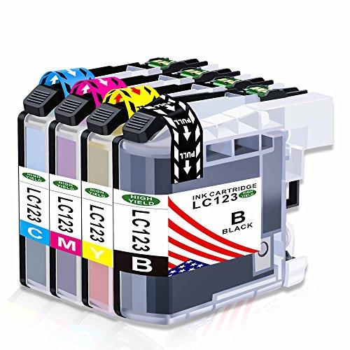 Toner Kingdom Compatible Brother LC123BK LC123C cartuchos de tinta astillados para su uso en Brother DCP-J4110DW MFC-J4510DW MFC-J650DW MFC-J6520DW DCP-J552DW MFC-J4610DW MFC-J6720DW DCP-J752DW