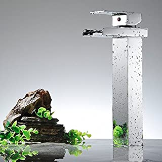 AUSWIND Waterfall Faucet Single Handle 1/2-Inch Lavatory Sink Faucet Brass Spout Contemporary Hotel Square Style