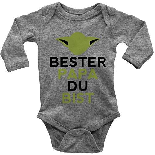 Mikalino Babybody mit Spruch für Jungen Mädchen Unisex Langarm Bester Papa Du bist | handbedruckt in Deutschland | Handmade with Love, Farbe:Heather, Grösse:86/92