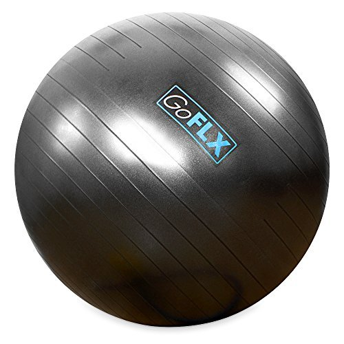 Pelota GoFLX™ para Yoga de 65cm con sistema antipinchazos e inflador (Gris)- límite de peso200kg