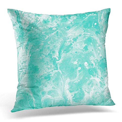 Liquid Cool Mint (Xukmefat Mint Green Abstract with Liquid Stains Blobs and Splashes Oil Color Gouache White and Mintgreen Marble Decorative Pillow Case Home Decor Square 18x18 Inches Pillowcase)