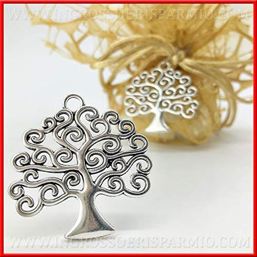 Ingrosso e risparmio 12 ciondoli in metallo zama argentato a forma di albero della vita applicazioni bomboniere fai da te matrimonio (con confezione rossa)