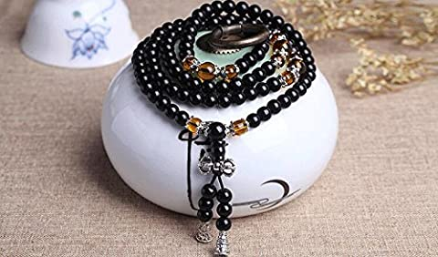 K&C 108 Beads 0.24 Inches Natural Gemstone Healing Power Round Elastic Stretch Bracelet Variation Colors and Material Black Yellow