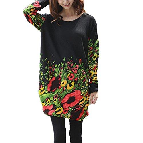 Minetom Pull long et large à manches longues pour femme Fleurs noires