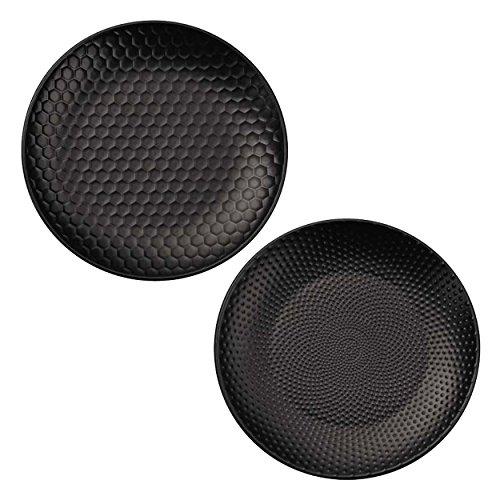 ASA 90704071 Blacktea Lot de 2 Assiettes, Porcelaine, Noir, 20,3 x 20,3 x 2 cm