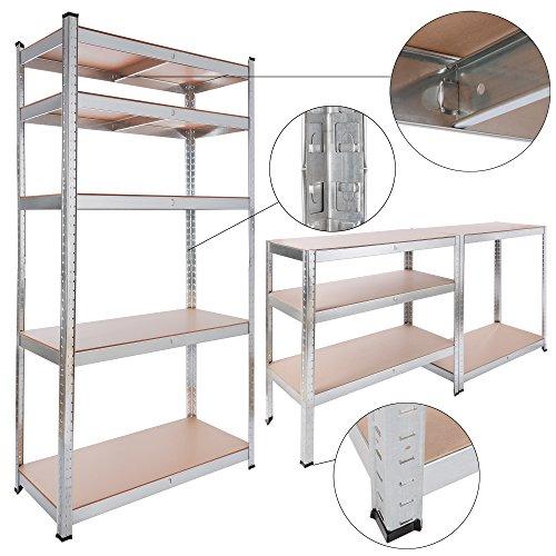 Arebos Schwerlastregale in verschiedene Größen / bis zu 875 kg Tragkraft / Einfache Montage durch Stecksystem (90x40x180 | 875kg | 0,7mm) (Regal Bücherregal Extra)