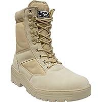 Stivali in pelle scamosciata color cuoio leggeri da combattimento militare