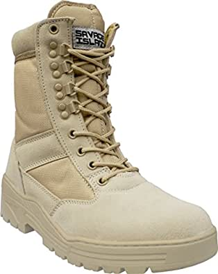 Savage Island Desert Army Combat Patrol Boots Tactical Cadet Military Security Seude Leather Tan Jungle (4 UK)