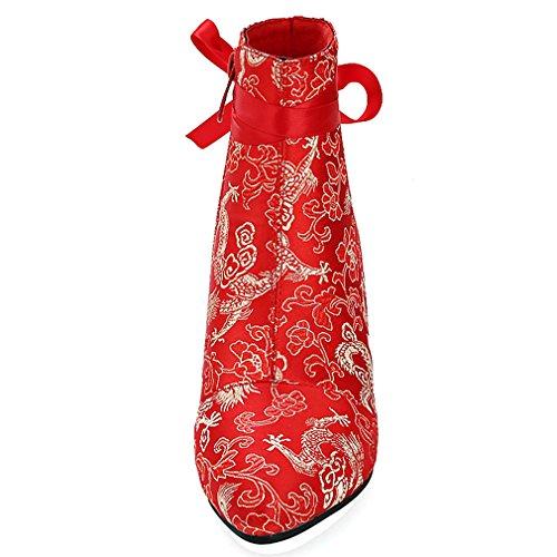 ENMAYER Femmes Rouge Top Satin Style Chinoise Rétro Talon Cheveux Pointues Bottes De Mariage Bordure Broderie Rouge 6cm