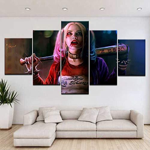 Segeltuch HD-Druck Selbstmordkommando Harley Quinn Bilder Poster 5 Panel Wandmalerei für Wohnzimmer Schlafzimmer Dekor,A,20×35×2+20×45×2+20×55×1