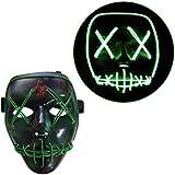 Tinksky Combinaison effrayante de Halloween Masque LED Masque lumineux pour fêtes de fête Costumes d'Halloween
