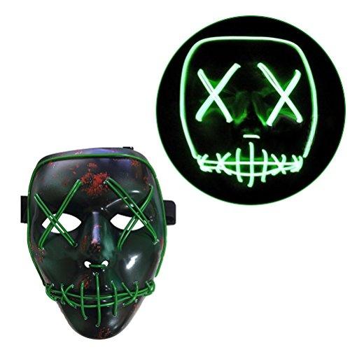 LUOEM LED Maske Halloween Cosplay Erschreckende Maske Leuchten Maske für Halloween Kostüm Party (Kostüm Halloween Party)